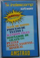 INDESCOMP SOFTWARE: BASE DE DATOS, PROCESADOR DE TEXTOS I, RANDOM FILES, DISEÑADOR DE GRÁFICOS, PUZZLE, ANIMAL-VEGETAL-MINERAL (Amstrad CPC)(1987)